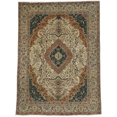 Vintage Tabriz Area Rug with Traditional Style