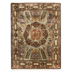 Vintage Tabriz Beige, Brown and Silk Persian Rug with Unique Medallion Design
