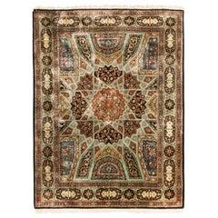 Vintage Tabriz Beige Brown Silk Persian Rug with Unique Medallion Design