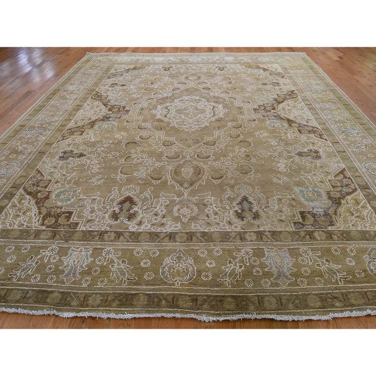 Afghan Vintage Tabriz Hand Knotted Pure Wool Oriental Rug For Sale