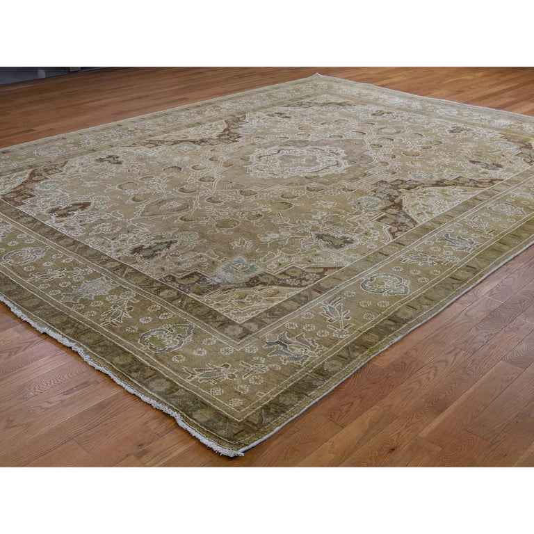 Hand-Knotted Vintage Tabriz Hand Knotted Pure Wool Oriental Rug For Sale