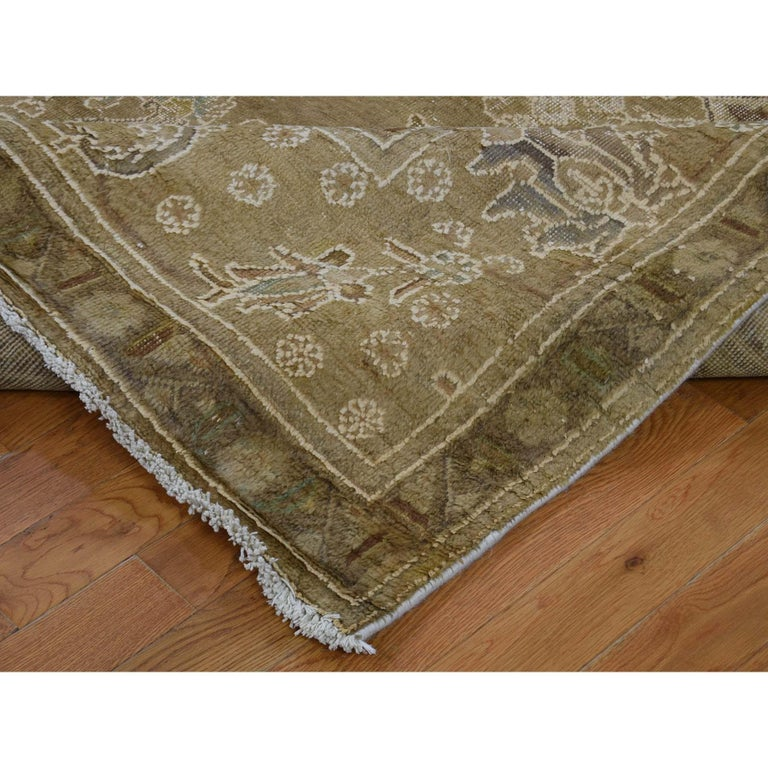Vintage Tabriz Hand Knotted Pure Wool Oriental Rug For Sale 1