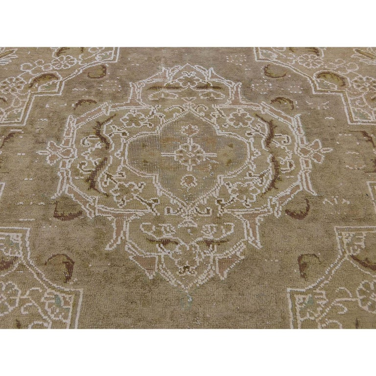 Vintage Tabriz Hand Knotted Pure Wool Oriental Rug For Sale 3