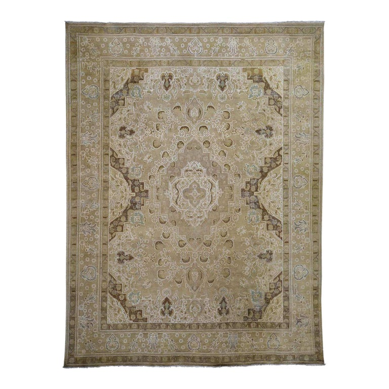 Vintage Tabriz Hand Knotted Pure Wool Oriental Rug For Sale