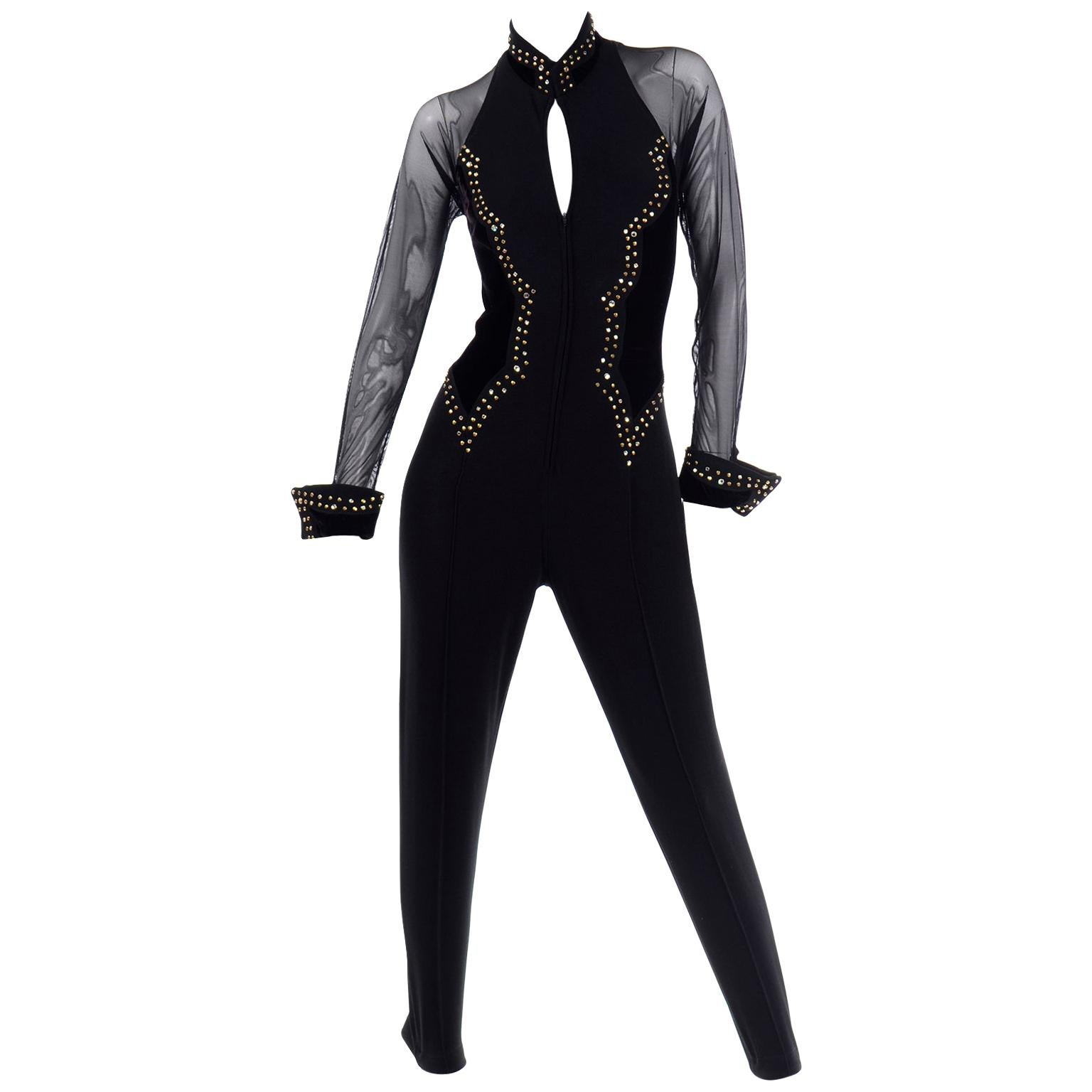 Vintage Tadashi Bodycon Black Velvet & Lycra Jumpsuit W Gold Studs & Rhinestones