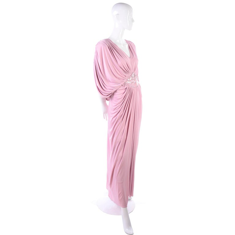 Vintage Tadashi Dress 1980s Pink Jersey Evening Gown W/ Beads Sequins & Draping 10