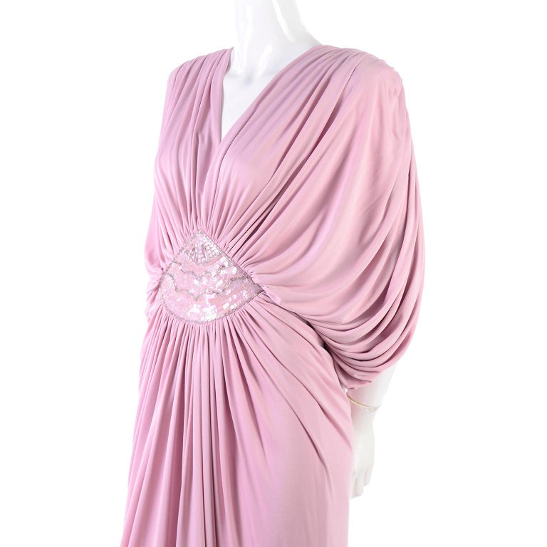 Vintage Tadashi Dress 1980s Pink Jersey Evening Gown W/ Beads Sequins & Draping 11