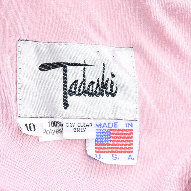 Vintage Tadashi Dress 1980s Pink Jersey Evening Gown W/ Beads Sequins & Draping 12