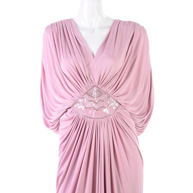 Vintage Tadashi Dress 1980s Pink Jersey Evening Gown W/ Beads Sequins & Draping 2