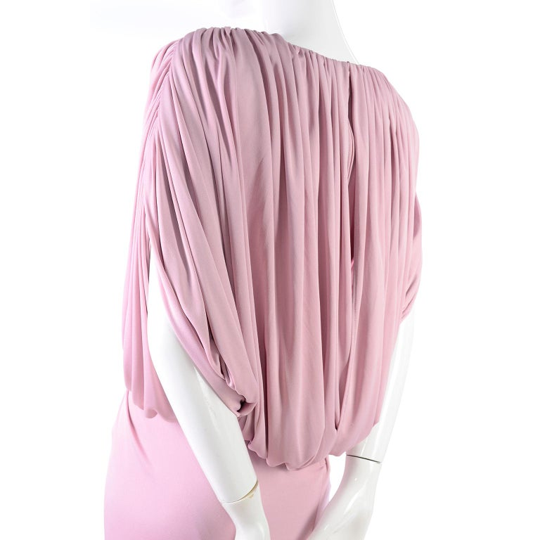 Vintage Tadashi Dress 1980s Pink Jersey Evening Gown W/ Beads Sequins & Draping 3