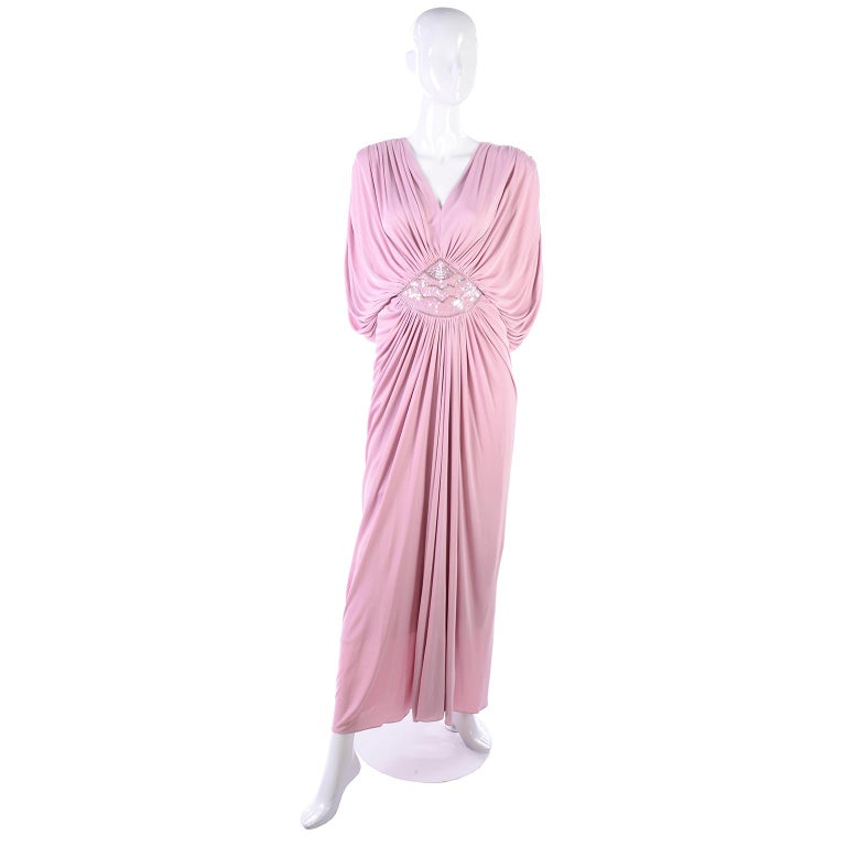 Vintage Tadashi Dress 1980s Pink Jersey Evening Gown W/ Beads Sequins & Draping 4