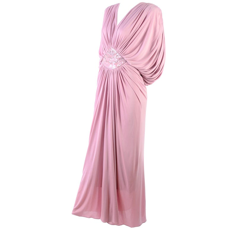Vintage Tadashi Dress 1980s Pink Jersey Evening Gown W/ Beads Sequins & Draping 5