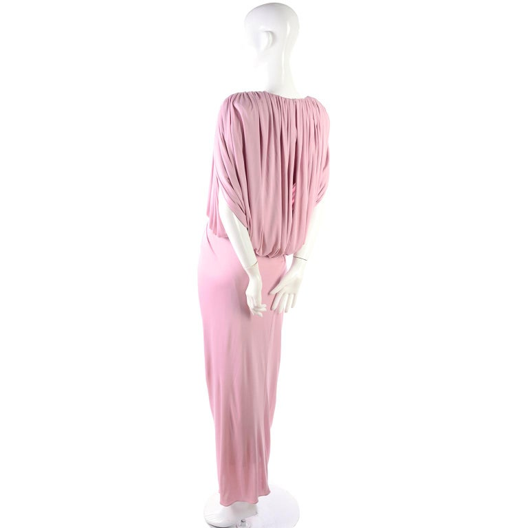 Vintage Tadashi Dress 1980s Pink Jersey Evening Gown W/ Beads Sequins & Draping 7