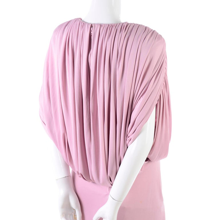 Vintage Tadashi Dress 1980s Pink Jersey Evening Gown W/ Beads Sequins & Draping 8