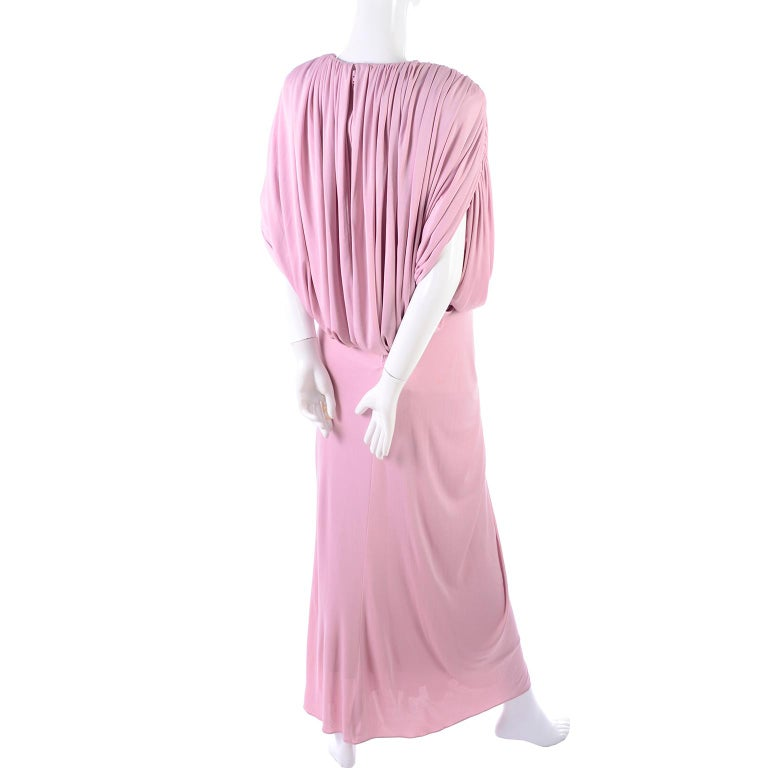 Vintage Tadashi Dress 1980s Pink Jersey Evening Gown W/ Beads Sequins & Draping 9