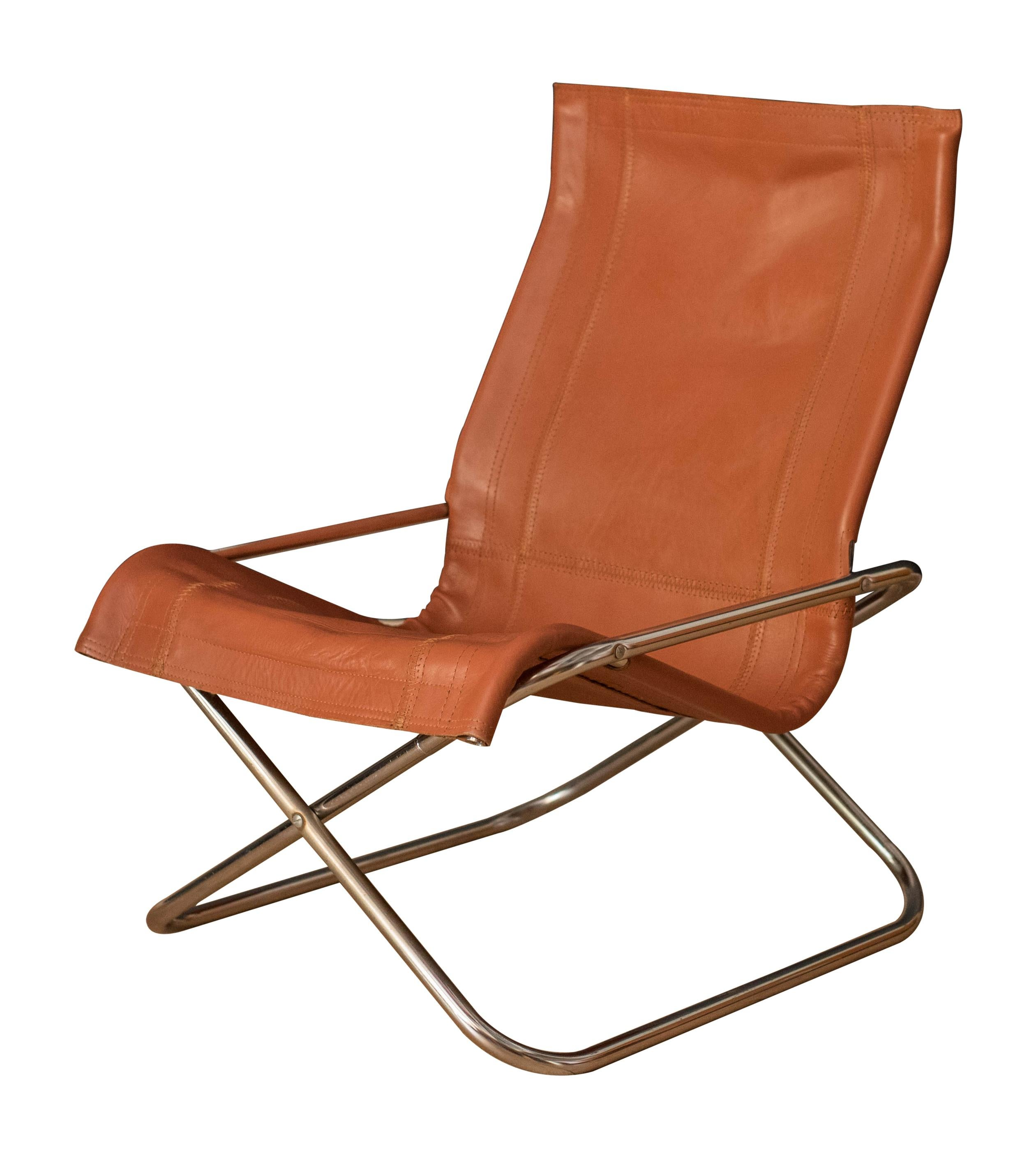 Vintage Takeshi Nii Leather and Chrome Sling Chair