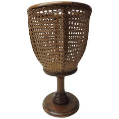 Vintage Tall Bent Wood and Wicker Planter