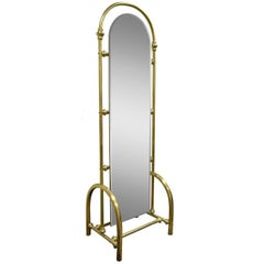 Vintage Tall Brass Glass Hollywood Regency Victorian Cheval Dressing Mirror