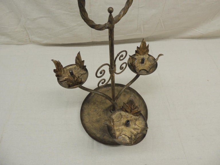 Italian Vintage Tall Florentine Round Candleholders with Handle For Sale