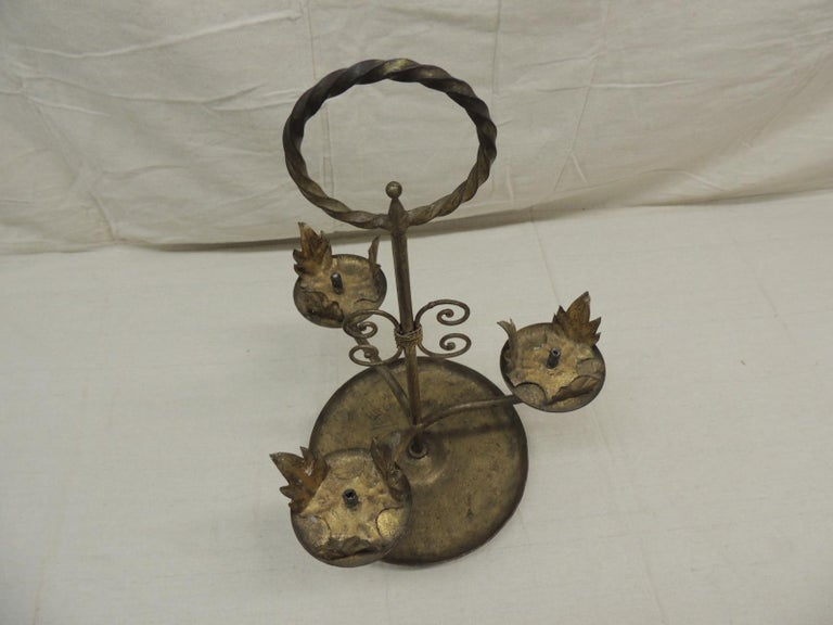 Hand-Crafted Vintage Tall Florentine Round Candleholders with Handle For Sale