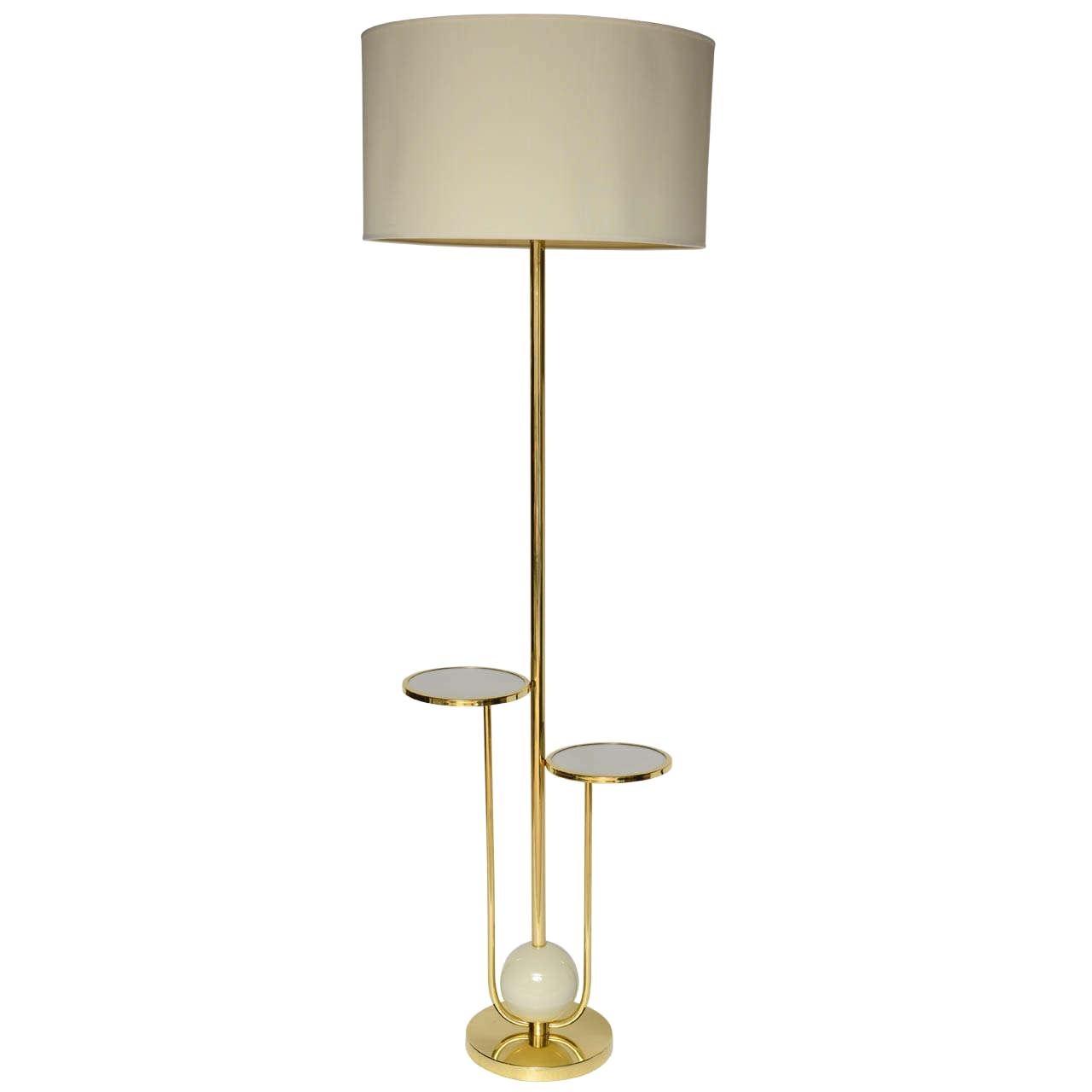 Tall Italian leather floor lamp