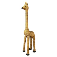 Vintage Tall Natural Wicker Giraffe Plant Stand, 1960s