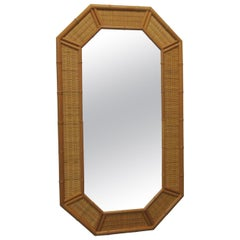 Vintage Tall Octagonal Shape Bamboo Mirror