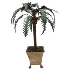 Vintage Tall Tole Palm Tree with Tole Jardinière