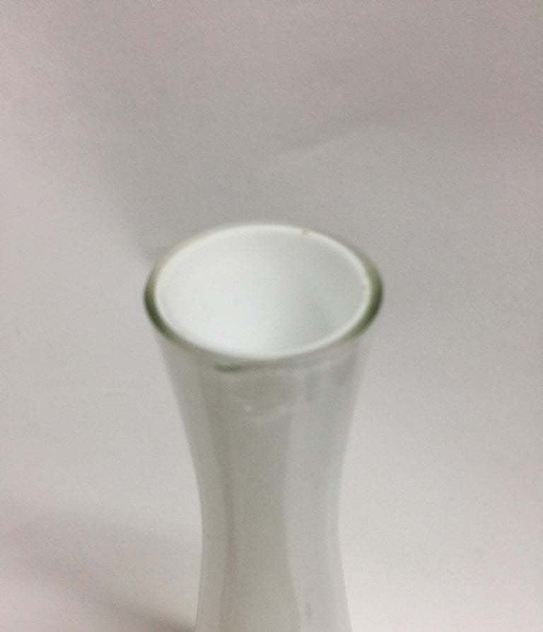 Vintage Tall White Cased Glass Vase by Kastrup For Sale 1