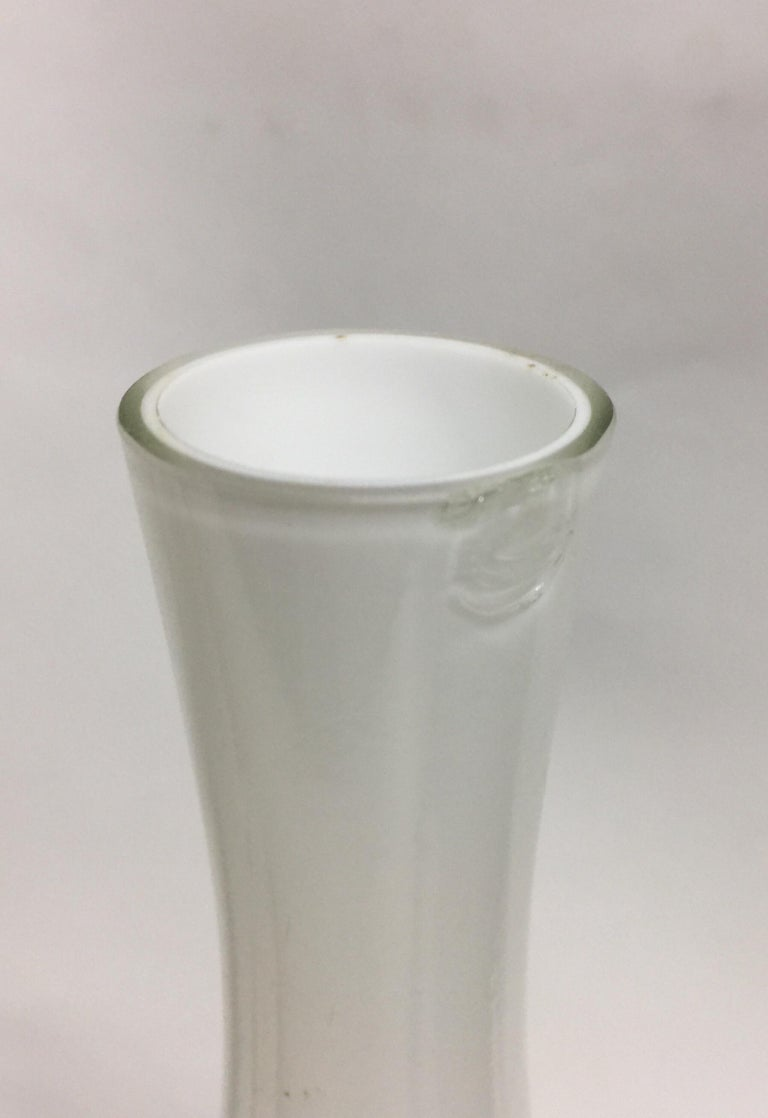 Vintage Tall White Cased Glass Vase by Kastrup For Sale 2