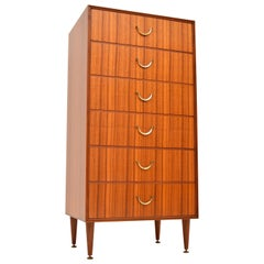 Vintage Tallboy Chest of Drawers in Tola and Brass