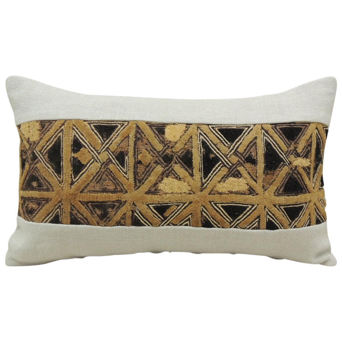 Vintage Tan and Black African Kuba Lumbar Decorative Pillow