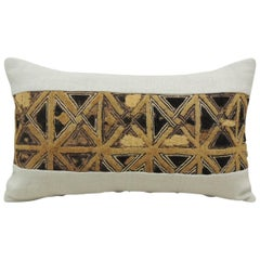 Vintage Tan and Black African Kuba Lumbar Decorative Pillow