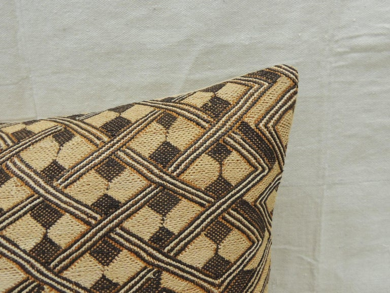 Tribal Vintage Tan and Brown African Kuba Decorative Bolster Pillow For Sale