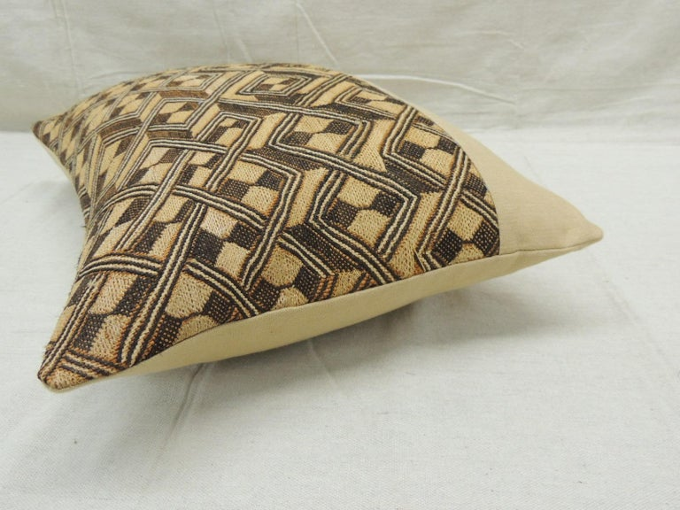 Congolese Vintage Tan and Brown African Kuba Decorative Bolster Pillow For Sale