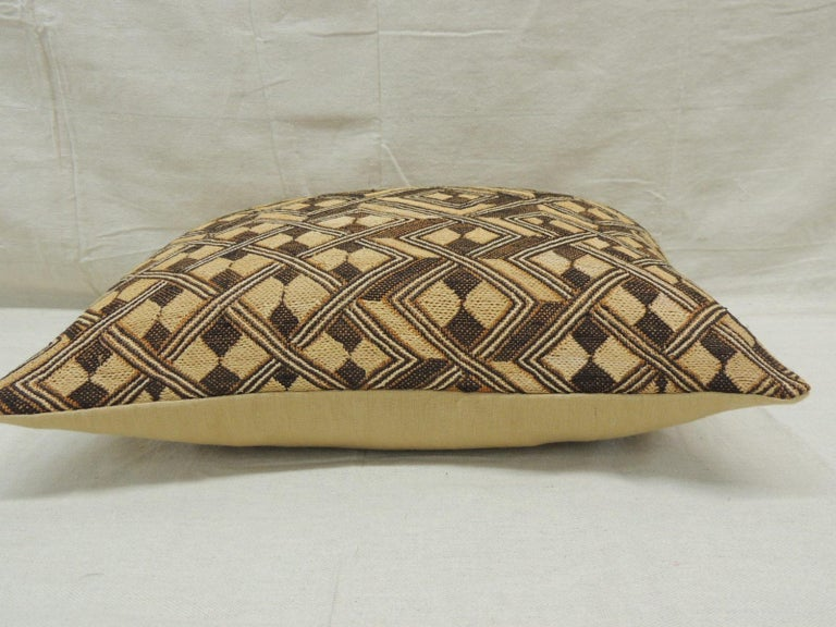 Hand-Crafted Vintage Tan and Brown African Kuba Decorative Bolster Pillow For Sale