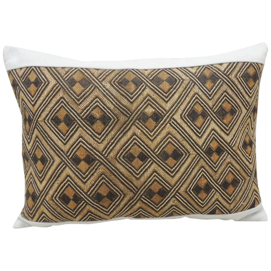 Vintage Tan and Brown African Kuba Decorative Bolster Pillow