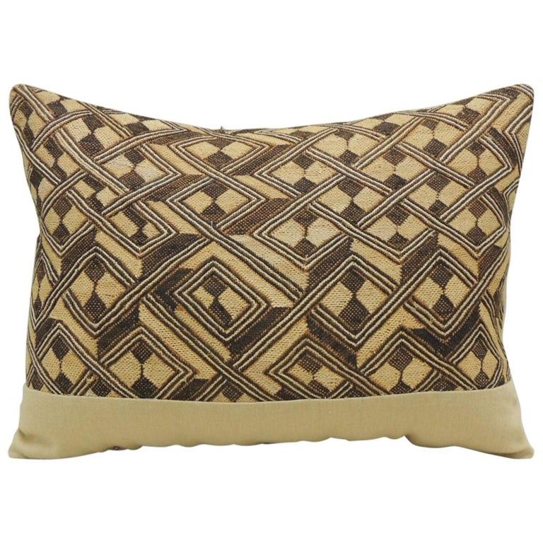Vintage Tan and Brown African Kuba Decorative Bolster Pillow For Sale