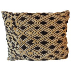 Vintage Tan and Brown African Kuba Decorative Bolster Pillow