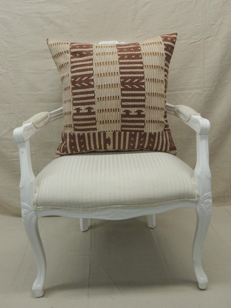 Tribal Vintage Tan and Brown Woven Ewe Stripweaves African Bolster Decorative Pillow For Sale