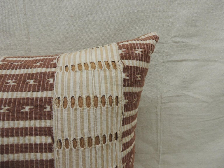 Ghanaian Vintage Tan and Brown Woven Ewe Stripweaves African Bolster Decorative Pillow For Sale