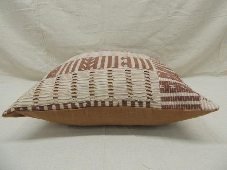 Hand-Crafted Vintage Tan and Brown Woven Ewe Stripweaves African Bolster Decorative Pillow For Sale