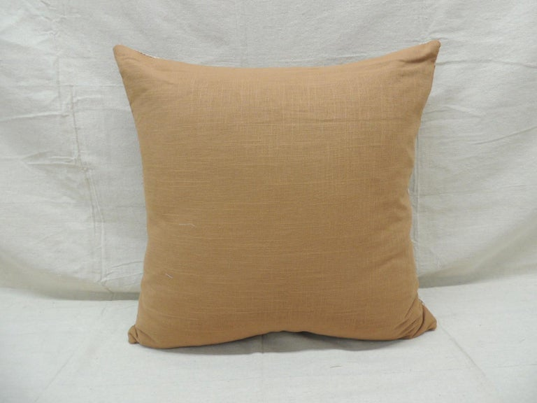 Mid-20th Century Vintage Tan and Brown Woven Ewe Stripweaves African Bolster Decorative Pillow For Sale