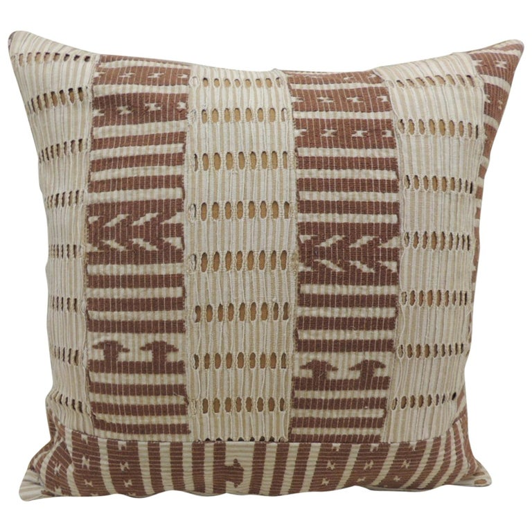 Vintage Tan and Brown Woven Ewe Stripweaves African Bolster Decorative Pillow For Sale
