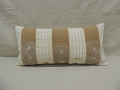 Vintage Tan and Brown Woven Ewe Stripweaves African Bolster Decorative Pillow