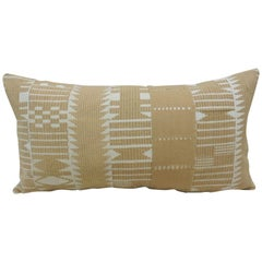 Vintage Tan and White Woven Ewe Stripweaves African Bolster Decorative Pillow