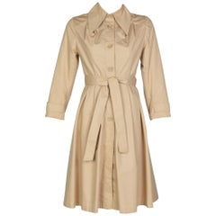 Vintage Tan Belted Cotton Trench Coat