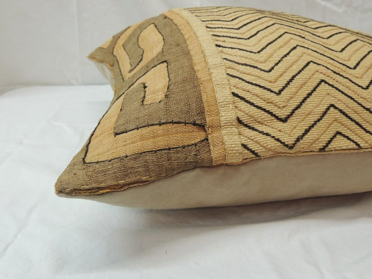 Hand-Crafted Vintage Tan and Black Handwoven Patchwork African Decorative Pillow For Sale