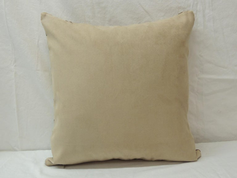 Late 20th Century Vintage Tan and Black Handwoven Patchwork African Decorative Pillow For Sale