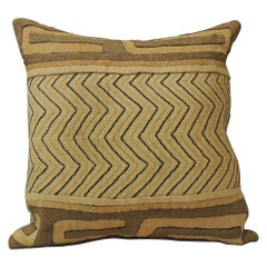 Vintage Tan and Black Handwoven Patchwork African Decorative Pillow